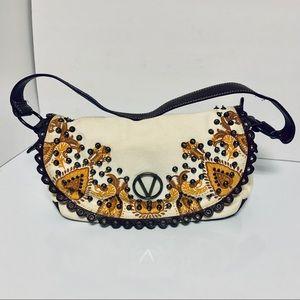 Valentino Oatmeal Canvas Leather Trim Shoulder Bag